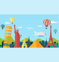 Travel and tourism background in flat style vector