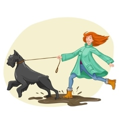 Woman walk run with dog vector