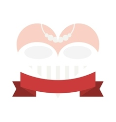 Happy bride heart icon vector