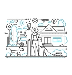 Family life - line design composition vector