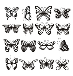 Butterfly icons set simple style vector image