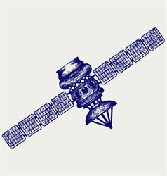 Satellite with dish antenna vector image