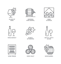 Thin line wine icons set vector image