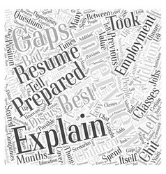 Explaining gaps in employment word cloud concept vector
