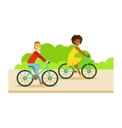 Guy and girl riding bicycles part of people in vector