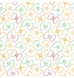 hand drawn pasta farfalle seamless pattern vector image