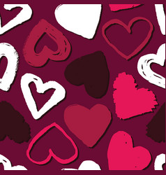 Seamless pattern with hearts abstract background vector