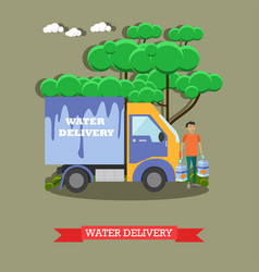 Water delivery in flat style vector