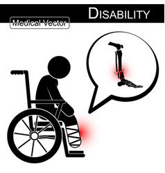Stick man with leg fracture on wheelchair vector