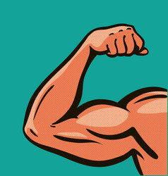 Strong arm muscles gym comics style design vector