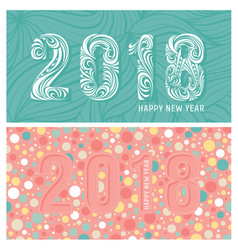 2018 new year banners with stylized numbers vector