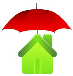 Green house under red umbrella Insurance concept vector image