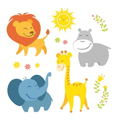 Cute african animals vector