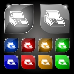 Cash register machine icon sign set of ten vector