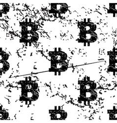 Bitcoin pattern grunge monochrome vector image