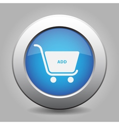 Blue button shopping cart add vector