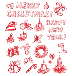 Christmas freehand design elements vector