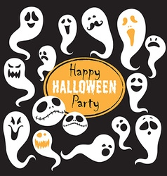Set of vintage happy halloween flat ghosts vector