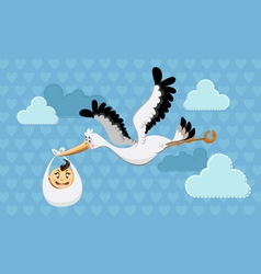 flying stork delivery vector image
