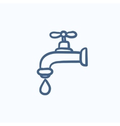 Faucet with water drop sketch icon vector