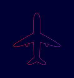 Airplane sign line icon with vector