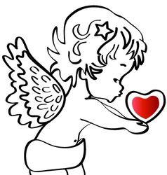 Angel with a heart vector