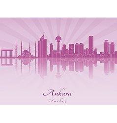 Ankara skyline in purple radiant orchid vector