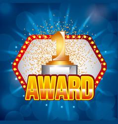 Award golden number one on light festive stage vector