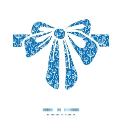 Blue white lineart plants gift bow vector
