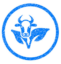 Bull and plant rounded grainy icon vector