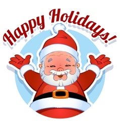 Card with Santa Claus in a circle Happy Holidays vector image vector image
