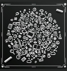 chalkboard sketch set of icons sciences circle vector image