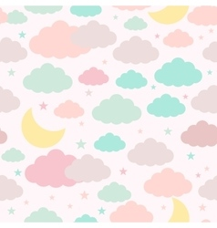 Childish seamless background with moon clouds and vector image vector image