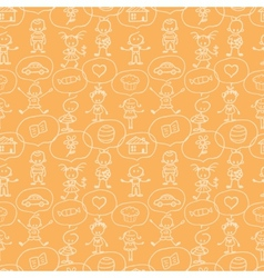 Children thinking seamless pattern background vector image