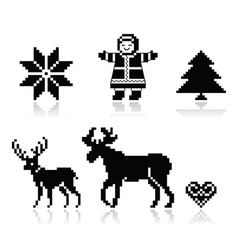 Christmas nordic pattern icons set vector image vector image