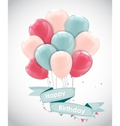 Color glossy happy birthday balloons banner vector