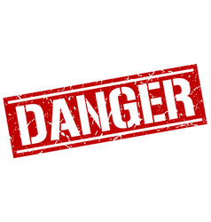 Danger square grunge stamp vector