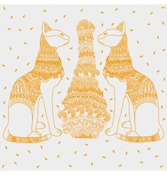 Egypt cat white background vector