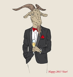 Goat dressed up in tuxedo with a glass of vector