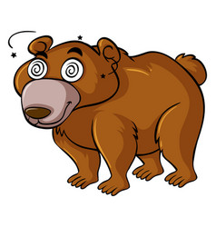 Grizzly bear with dizzy eyes vector