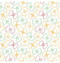 Hand drawn pasta farfalle seamless pattern vector