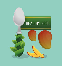 Healthy food fruit diet poster vector