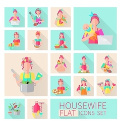 Housewife flat set vector