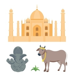 India taj mahal and budda elephant travel vector image