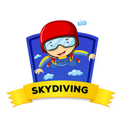 Label design with man doing skydiving vector