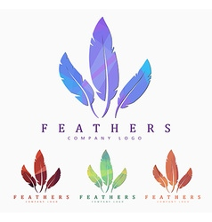 Logo design with bird feather abstract polygonal vector