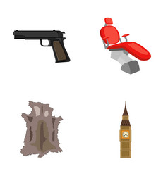 Pistol toothpin and other web icon in cartoon vector