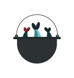 Pot of fresh-soup over an open fire icon vector