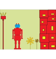 Retro red robot vector image