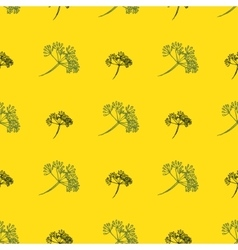 Seamless pattern with drawing dill or fennel vector